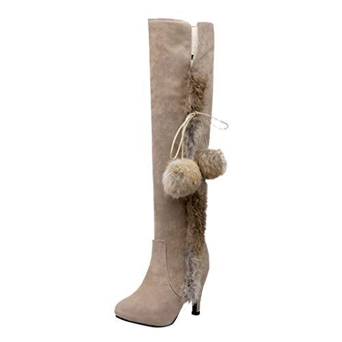 Andouy Damen Stilvolle Spitze Zehe Overknee-Stiefel Elegante Stöckelschuhe Langschaftstiefel(39 EU,Beige)