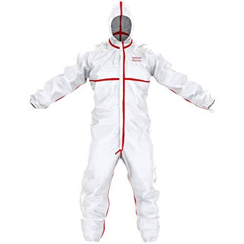 SafeComfort Einweg-Chemikalienschutzanzug Modell T | PSA Kat. III Typ 4b/5b/6b - partikeldicht und spraydicht - Infektionsschutz nach EN 14126 (L)