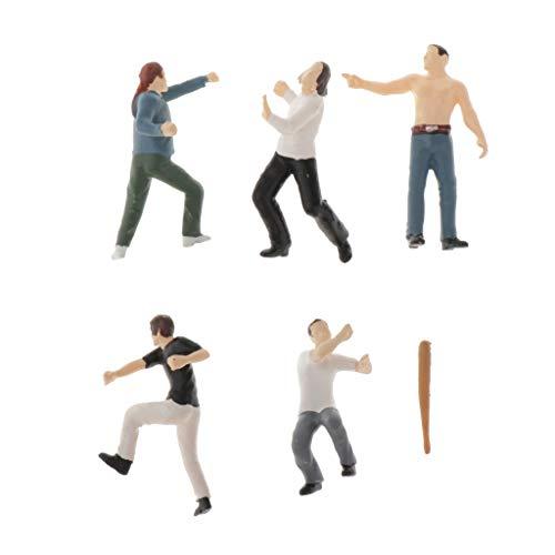 IPOTCH 1:64 Figura de Personas Peleando en Miniatura Realista Figurita Modelismo Ferroviario Accesorios de Mesa de Arena - B