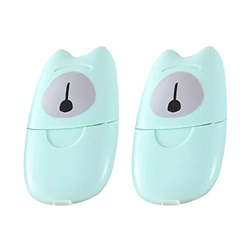 Wakauto 2 Pcs Voyage Portable Flocons de Savon Lavage Ou Nettoyage Feuille de Tranche de Main Parfumée Savon Moussant Papier Jetable de Savon (Vert 50 Pcs pour Chacun)