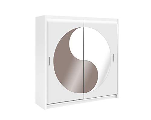 Furniture24_eu Kleiderschrank Schwebetürenschrank Schlafzimmerschrank LOTOS (Weiß Matt/Nußbaum Glas/Spiegel)