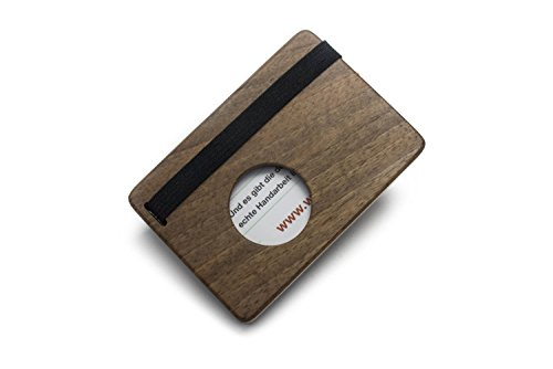 Visitenkartenetui aus Holz | Visitenkartenhülle mit Verschluss | Visitenkartenhalter (Nussbaum) Original von WOODBI®