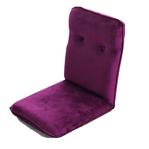 jklj Sofas & Couches 6-Position Memory Foam Floor Chair Pillow Gaming Chair - Comfortable Back Support Cushion Dorm Rocker for Living Room (Color : Purple, Size : 45x51x57cm)