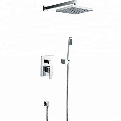 YEZIN Cabeza de Ducha Cabeza de Ducha empotrada en la Pared Sistema de Ducha Cuadrado Completo Ducha de Lluvia para Piel Seca y Cabello. (Bath & Shower Faucet Type : In-Wall Shower Faucets)