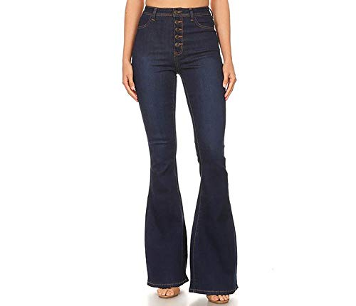 StyLeUp Women's Flare Bell Bottom High Waist Denim Jeans (3320 DK S)