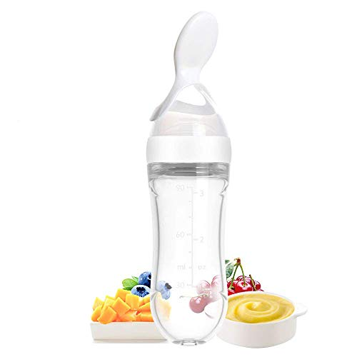 Aoffer Silicone Baby Squeeze Food Dispensing Spoon Puree Feeder Baby Feeding Cereal Rice Fruit Supplement with Infant Newborn Toddler Food Supplement Bottle Set- 90ml White