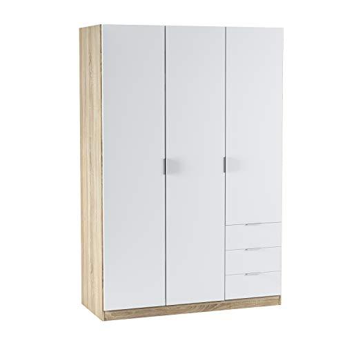 Habitdesign Armario Ropero de Tres Puertas y Tres Cajones, Acabado en Color Roble Canadian y Blanco Artik, Medidas: 121 cm (Ancho) x 180 cm (Alto) x 52 cm (Fondo)