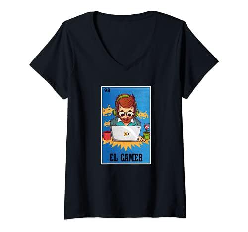 Mujer El Gamer - Camiseta de lotería mexicana, divertido juego de cartas de bingo Camiseta Cuello V