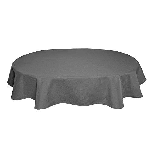 Tischdecke Leinenoptik Leinen Lotuseffekt Wasserabweisend Lotus Oval 160x220 cm Grau