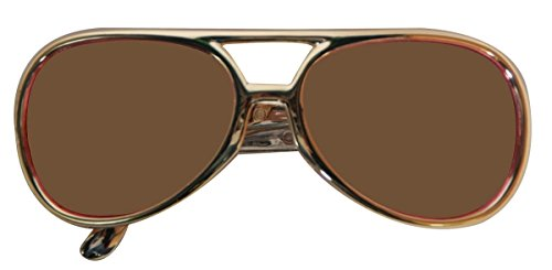 CREATIVE Party Brille Elvis Gold mit brauner Linse