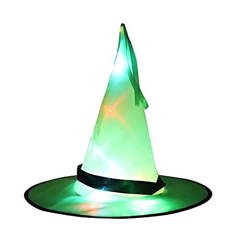 CYGGA Cappello da strega per Halloween con lampada cappello da strega, decorazione da appendere per adulti, per feste e magi, in rete per donne e uomini e bambini, verde, Taglia unica