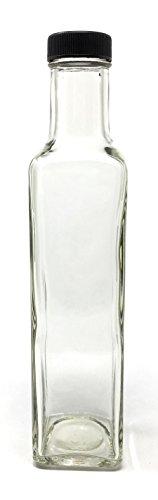 250ml (8Oz) quadratisch Glas Flasche mit Deckel (12Pack) MARASCA und Quadra Flasche