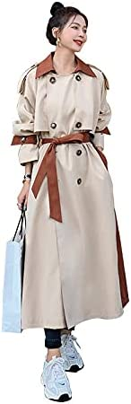GPPZM Long Loose Double-Breasted Genuine Free Shipping Women Trench Coat L Windbreaker NEW