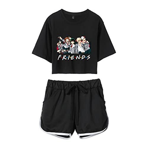 Tomwell My Hero Academia Crop Top and Shorts Anime MHA Shirt und Shorts Set Design Drucken Grafik Mode Sexy Top Shorts Set für Damen F Schwarz Schwarz XS