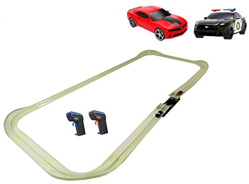Tracer Racers R/C High Speed Remote Control Super Loop Speedway Glow Track Set with Two Cars for Dual Racing, Glow Blue