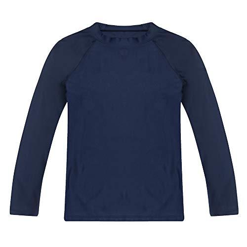 LACOFIA Traje de baño Infantil Camiseta de baño de Manga Corta para niños Rashguard con protección Solar Secado rapido Azul Marino 140