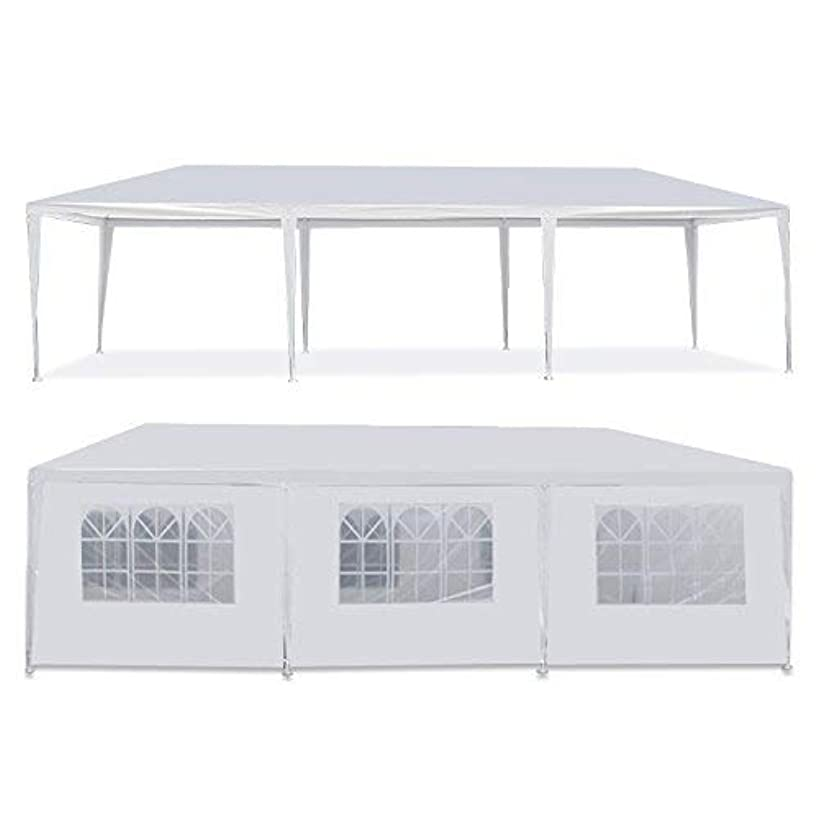 HomGarden 10'x30' Outdoor White Gazebo Patio Canopy Tent Camping Gazebo Storage Shelter Pavilion Cater for Party Wedding Events BBQ w/ 8 Removable Sidewalls