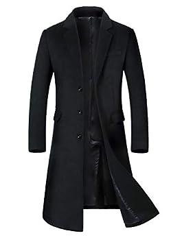 Mordenmiss Men s Long Slim Peacoat Winter Business Wool Blazer Gentlemen Trench Coat Style 2 M Black