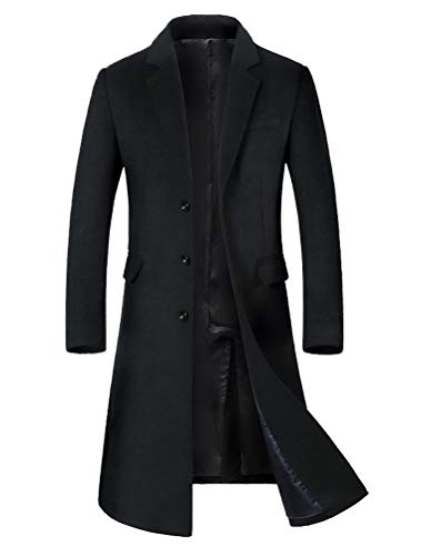 Mordenmiss Men's Long Slim Peacoat Winter Business Wool Blazer Gentlemen Trench Coat Style 2 M Black