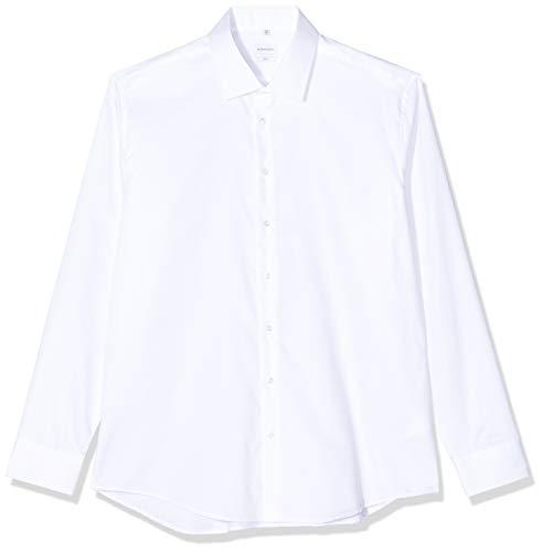 Seidensticker Herren Business Hemd Slim Fit – Bügelleichtes Businesshemd, Weiß (Weiß 01), (Herstellergröße: 36)