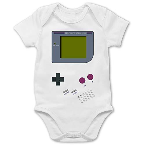 Strampler Motive - Gameboy - 6/12 Monate - Weiß - Baby Shirt Fun - BZ10 - Baby Body Kurzarm für Jungen und Mädchen