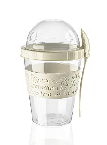 BEFA Müsli to Go | BPA Frei | Müslibecher | Deckel inkl Löffel mit Halterung | Joghurtbehälter | Obstbehälter | Salatbecher | Reisebecher | Lunchbox | Fruit (Beige)