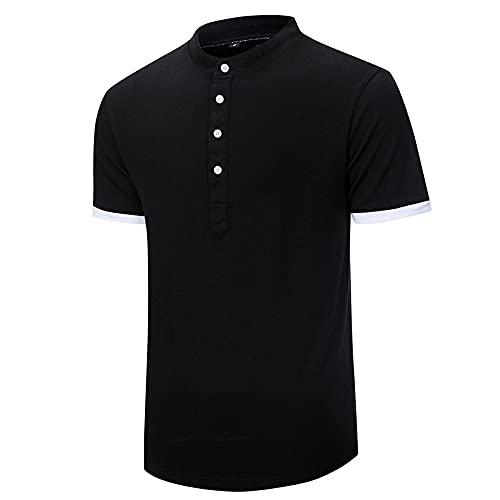 LSSM Camisetas De Hombre Camisetas Cortas De Hombre Ropa Camisas Corta para Camisa De Manga Corta para con Corte EstáNdar para DiseñO Tropical Hawaiano Camisa Hawaiana para Casual Negro L