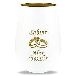 Stölzle Hochzeits-Teelicht mit Gravur   personalisiertes Hochzeitsgeschenk für Brautpaare   Namen von Braut & Bräutigam graviert mit verschiedenen Motiven: Ringe, Herzen, Tauben