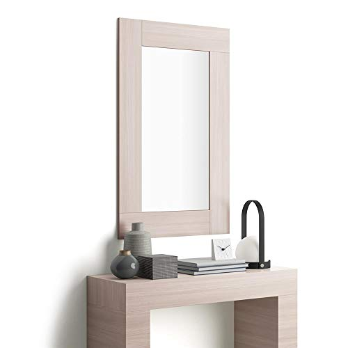 Mobili Fiver, Miroir Mural rectangulaire, Cadre Orme Perle Evolution, Mélaminé/Verre, Made in Italy