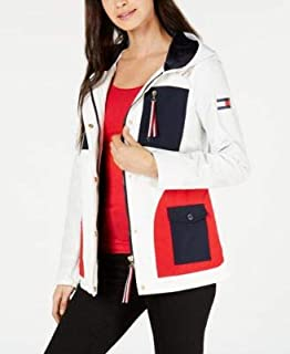 TOMMY HILFIGER Womens White Color Block Jacket US Size: S