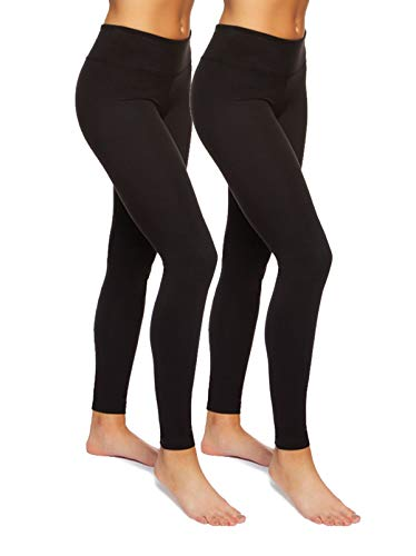 Felina | Sueded Athleisure Performance Legging w/Slimming Waist 2-Pack (Large) Black