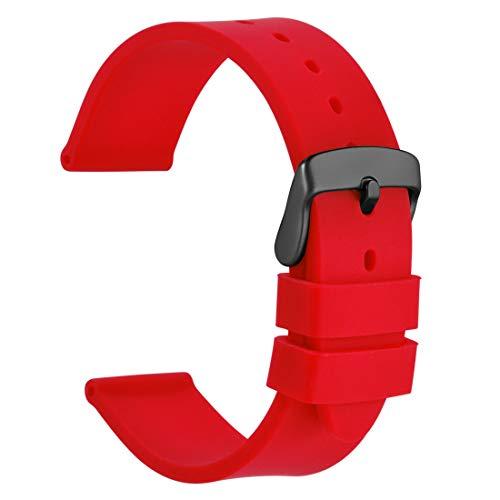 WOCCI 20mm Correa de Reloj de Silicona con Hebilla Negra, Banda de Repuesto de Goma Suave (Rojo)