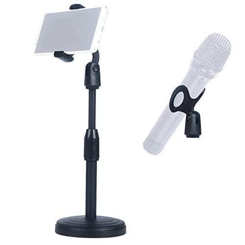 Soporte de Micrófono de Escritorio con Acortar para Teléfono Móvil, Base de Resistente Antideslizante, Soporte Ajustable y Desmontable para Rodaje Podcast DJ Karaoke Podcasting Grabación