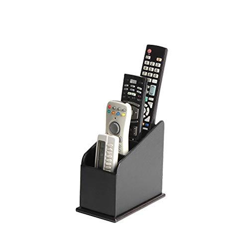 JACKCUBE Design 4 Compartments Black Leather Remote Control Organizer Holder Controller TV Guide Media Storage Box – :MK292A