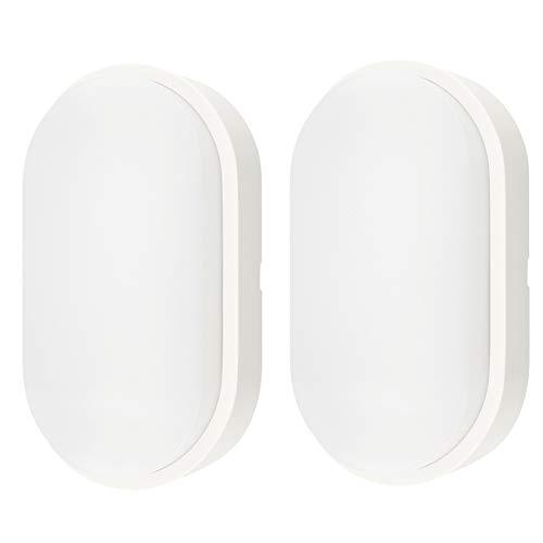 14W Ovale Lampada da Parete Esterno LED Impermeabile IP 54 Applique da Parete Esterno con trim Bianco - perfetto per giardino, capannone, portico, garage, officina, patio ecc, 2 Pack