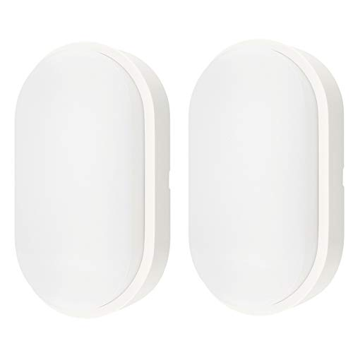 10W LED 4000K IP54 Flush Wall Mounted Oval Bulkhead Light Fitting with White Trim - Perfect for Indoor, Outdoor, Bath, Office, Kitchen, Hallway, Corridor, Utility, Garden, Shed, Patio etc - Pack of 2