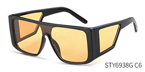 ZJMIYJ zonnebril, winddichte zonnebril voor dames en heren, reflecterende grote spiegel, retro vintage, zonnebril, grote tassen, outdoor, sport, punk, goggles, zwarte rand