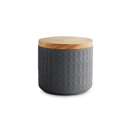Keramik Vorratsdosen mit Holzdeckel Grau, Kautschukholz-Deckel, Aufbewahrungsdosen, Frischhaltedosen - 10,1 x 9,3 cm dunkelgrau