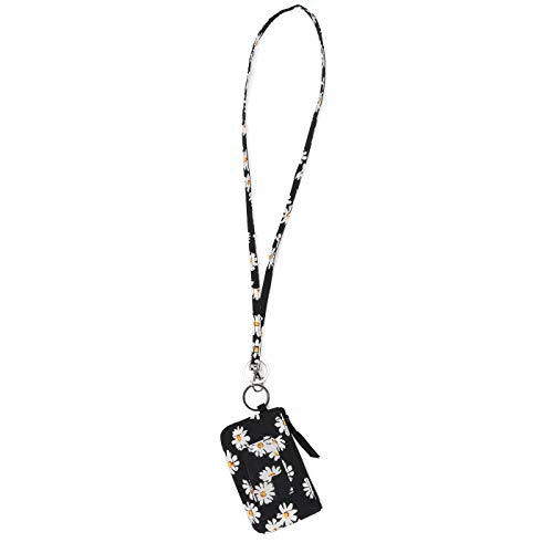 Lam Gallery Fashion Lanyard Wallet ID Badge Holder Lanyards for Office and School Zip ID Case Wallets (Daisy Black)