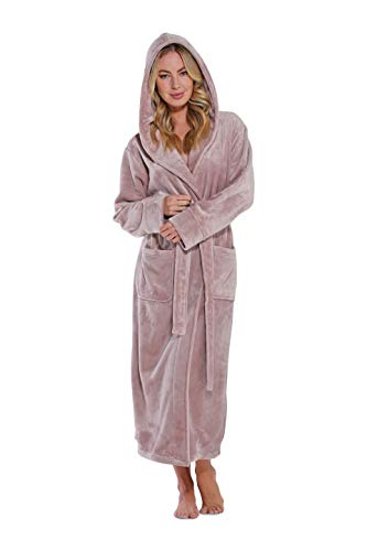 Women's Plush Soft Warm Fleece Bathrobe, Comfy Womens Robe (Hooded Pink, Large)