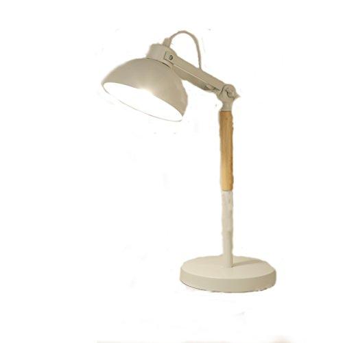 LEGELY Lampe de Table en métal Simple Nordique, Blanc, Salon Lampe de décoration de Salle d'étude de Chambre, E27, Poteau de Lampe rotative en Bois