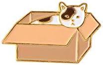 DVPHA Favorite Animals Enamel Pin Lazy Corgi Nine Tailed Fox Bunny Cat Brooch Bag Lapel Pin Cartoon Badge Jewelry Gift Kids Girl (Metal color: cat box)