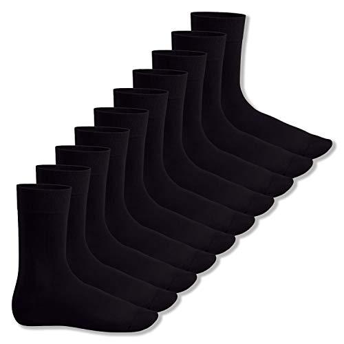 Footstar Herren und Damen Baumwollsocken (10 Paar), Klassische Socken aus Baumwolle - Everyday! - Schwarz 39-42