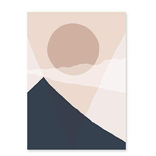 Beige moderno Taupe Colores de moda Abstracto Geométrico Montaña Sol Paisaje Lienzo Pintura Cartel Imprimir Sala Decoración para el hogar 50x70cm (19.6x27.5in) Con marco