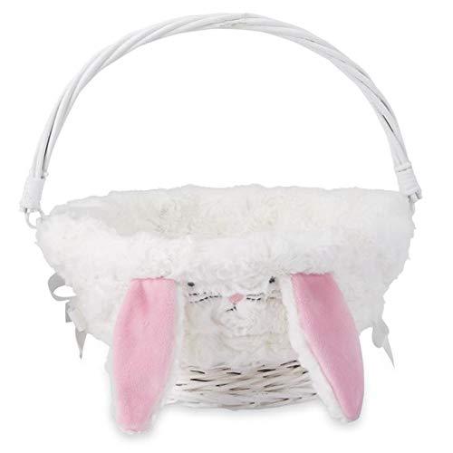 Mud Pie Easter Baby Girl Bunny Ear Wicker Basket 10.5in Dia 1602001B
