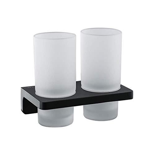 Wall Shelf JT- Soporte de doble taza de bronce sólido para cepillo de dientes de baño, inodoro, estante de lavado de hardware colgante duradero (color: B)