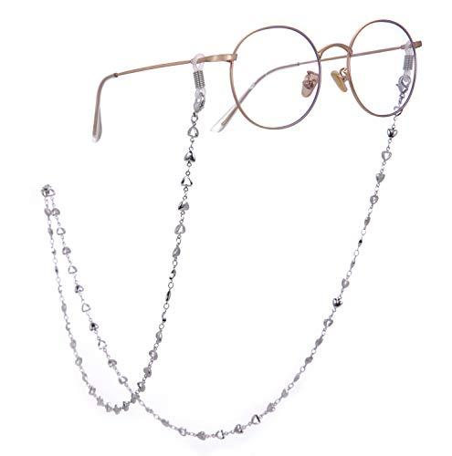 Cooltime Catenella per occhiali a cuori, unisex, colore argento/oro/rose gold Gomma bianca argentata.