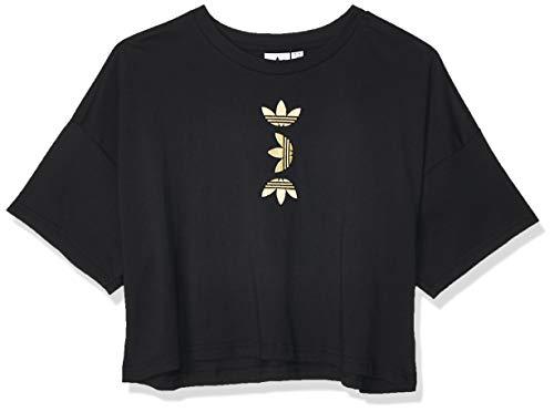 adidas Damen Sweatshirt LRG Logo Tee, Black/Gold Met, 42, FS7232