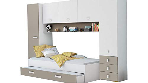 Schrankbett inkl Bettkasten weiß braun B 308 Jugendzimmer Kinderzimmer Gäste Studentenzimmer Jugendbett Wandbett Schrank Gästebett