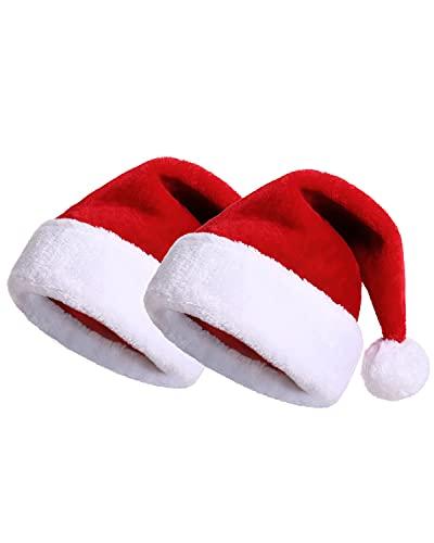 KONVINIT 2 Pezzi Cappello Natale Bimbi Cappello Bambini Babbo Natale Rosso Babbo Natale Cappello Festa per Feste Cappello Babbo Natale Bambino